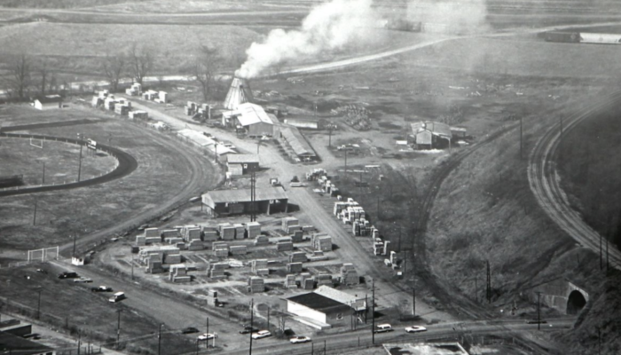 aerial photo of sawmill